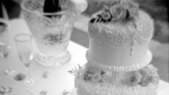 Close-up of a wedding cake on a table