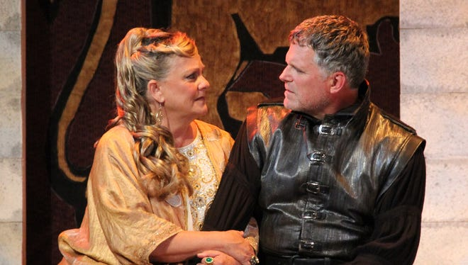 "Kim Zimmer, left, and Robert Newman star as queen and king in ""The Lion in Winter."""