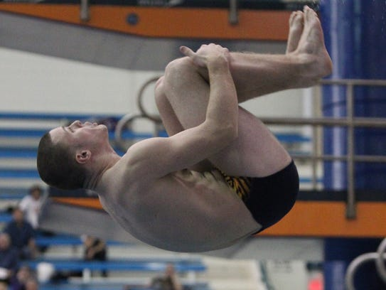 Clarkstown's Daniel Alaimo performs a dive at the 2017