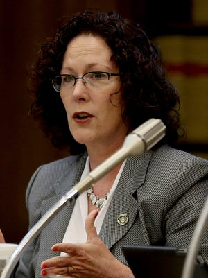 Rep. Val Hoyle pictured during a committee meeting at the Oregon State Capitol in Salem on Wednesday, April 22, 2015.