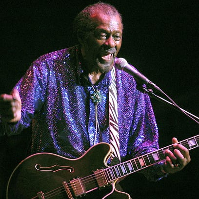 Chuck Berry performs at the grandstand of the New York