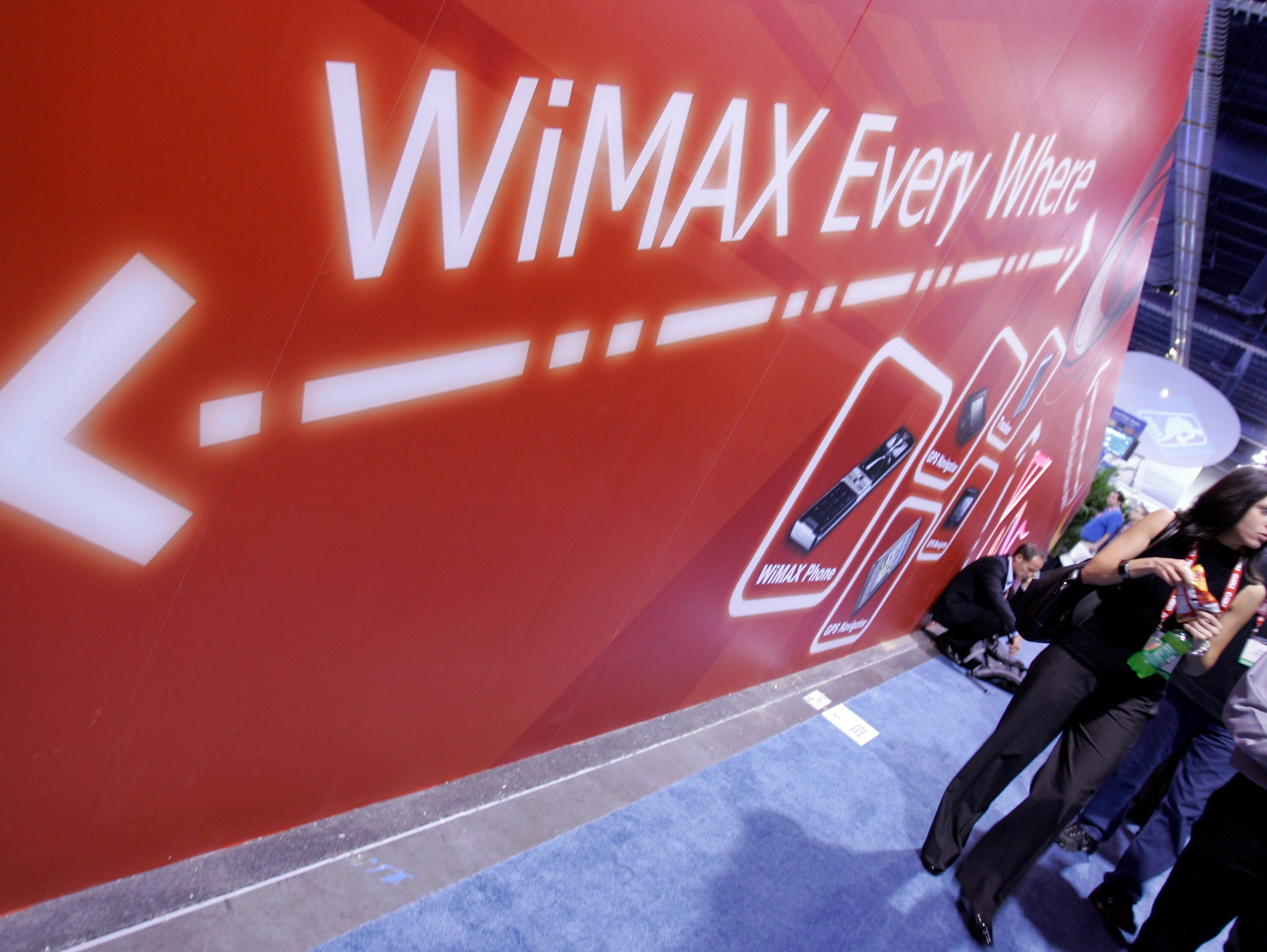 Av4G WiMax booth at the Consumer Electronics Show in Las Vegas in 2008.