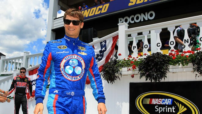 Landon Cassill is introduced prior a Sprint Cup race at Pocono Raceway in August.
