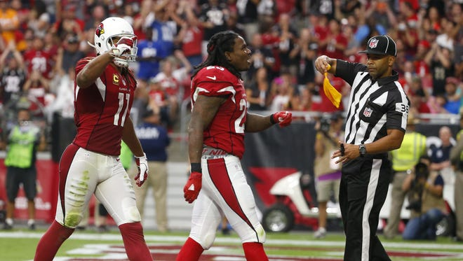Cardinals running back Chris Johnson (23) celebrates his touchdown run against the Buccaneers during the fourth quarter at University of Phoenix Stadium in Glendale, Ariz. on September 18, 2016.