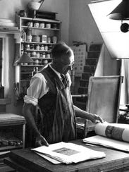 Gustave Baumann completing San Geronimo, Taos, in his