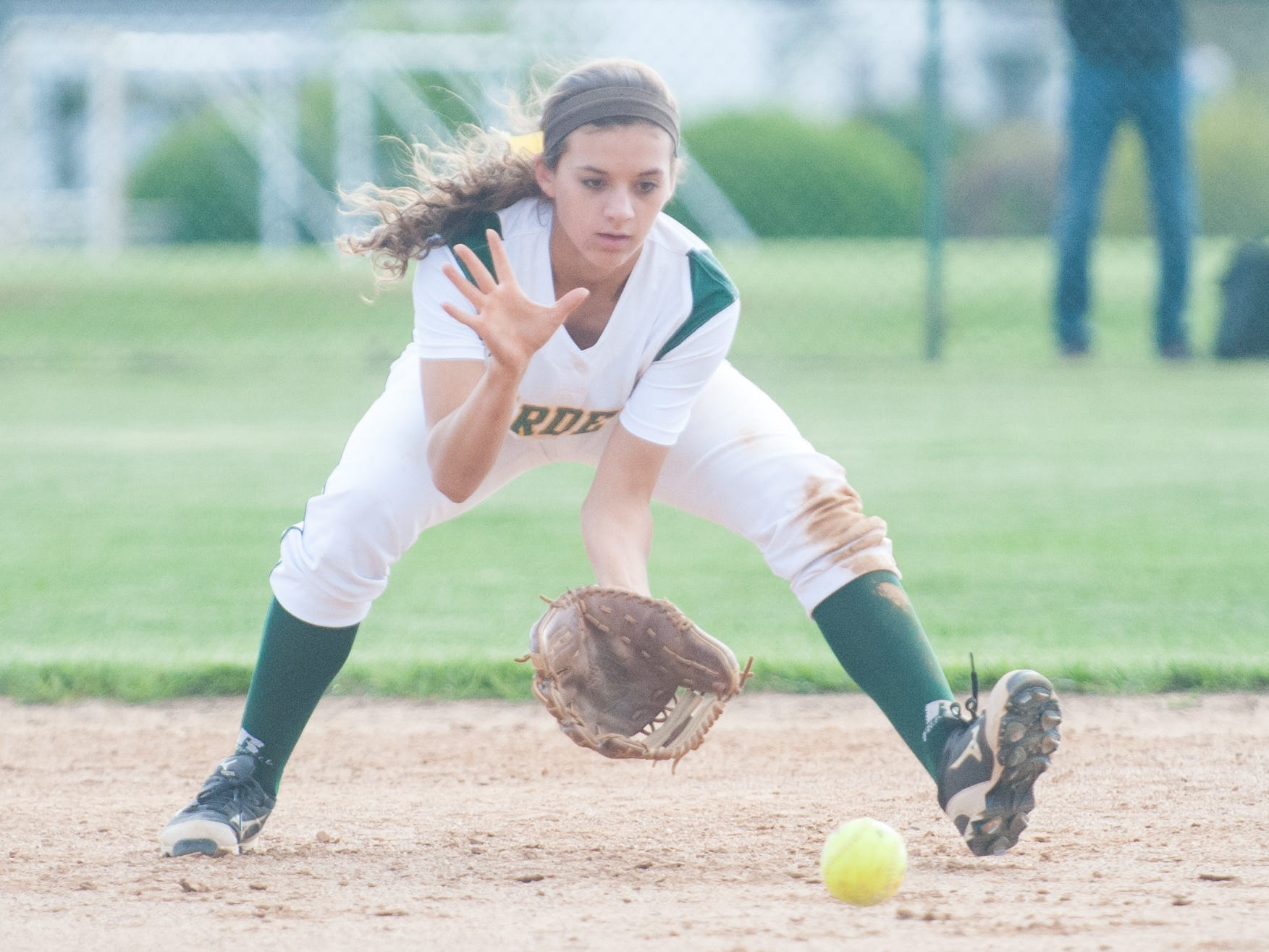 Mardela second baseman Sydney Goertzen fields a Bennett grounder at Mardela High on Tuesday afternoon in Bayside South action.