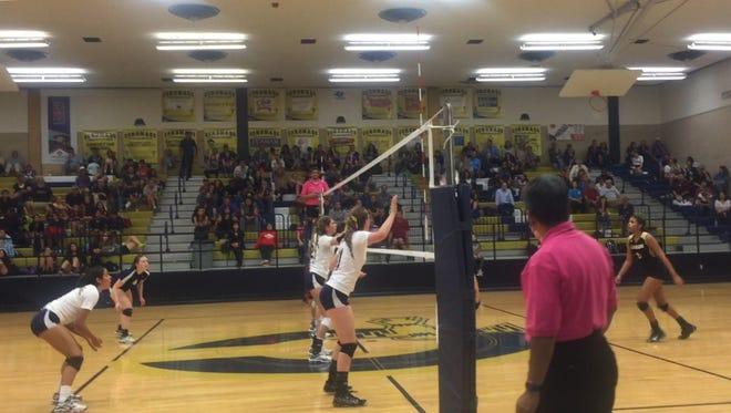 Coronado defeated El Dorado on Tuesday night at Coronado High School in four sets: 17-25, 28-26, 25-19 and 25-12.