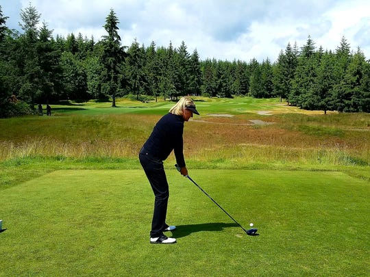 Betsy King prepares to tee off on the first hole during the Saquamish Clearwater Legends Cup at White Horse Golf Club in Kingston.