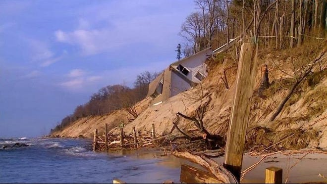 A home in Muskegon County fell into Lake Michigan due to erosion caused by high water levels in Jan. 2020. A bill to support local spending to combat erosion has passed the U.S. Senate.