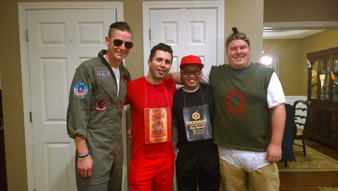 """Jordan Hill as Maverick from """"Top Gun"""" attended Breakfast Club with friends dressed as sauces and Quailman from """"Doug."""""""