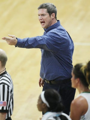 FGCU coach Karl Smesko argues a call during a 62-48 loss to Arkansas State Nov. 28 in Alico Arena. The Eagles have won five straight and nine of 10 since then.
