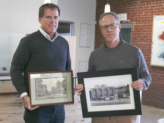Barry Kelley, left, CEO of Matchbox Realty, and Andrew Forward, owner of Chathill & Associates, have worked together to revitalize numerous historic buildings in downtown Harrisonburg, creating retail, restaurant and apartment spaces such as an old brick produce exchange, an ice storage warehouse and the former livery, just to name a few.