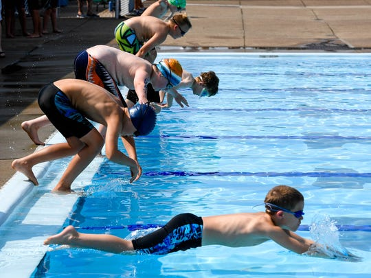 The start of one of the 9-10 year-old 25 yard Breast Stroke preliminaries at the 2018 City Swim Meet held in Evansville's Garvin Park Saturday, July 14, 2018.