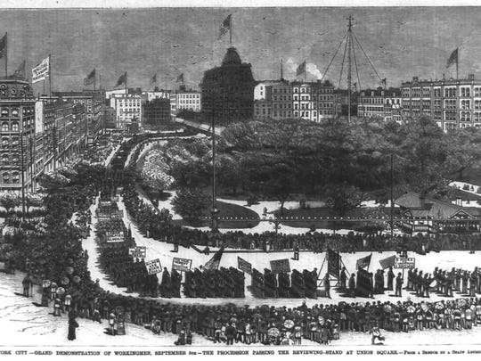 Newspaper illustration shows the first Labor Day parade