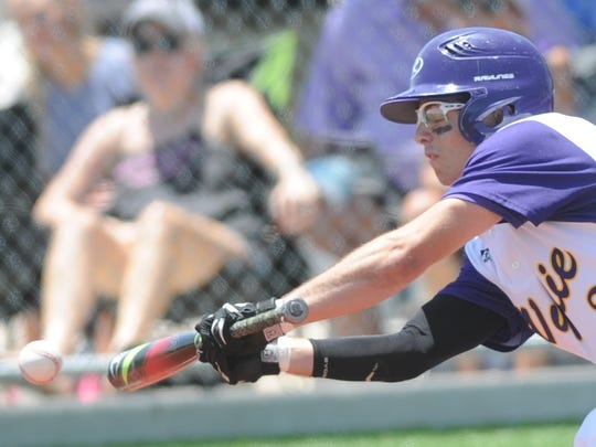 Wylie's Gatlin Martin bunts for a single in the second inning against Levelland. The hit loaded the  bases with no outs in the inning. The Bulldogs won the game 12-3 to sweep the Region I-4A semifinal series from Levelland on Saturday, May 27, 2017 at Cardinal Field in Hermleigh.