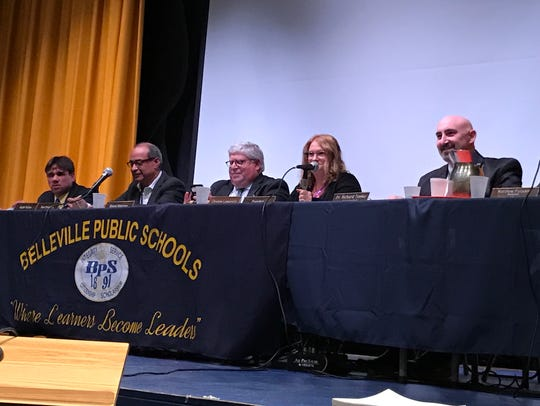 Belleville Board of Education members, from left, Thomas