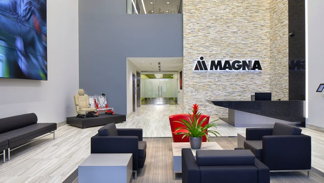 The main lobby of the new Magna Seating headquarters in Novi, which opened last month. Magna Seating is a division of automotive supplier Magna International.