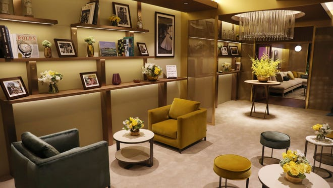 The Oscars green room for the 89th Academy Awards, designed by Rolex, is seen in Los Angeles. The Academy Awards will be held at the Dolby Theatre on Sunday.