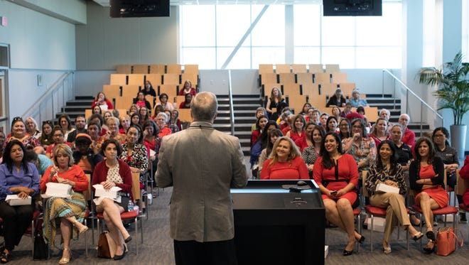 Dr. John Cicala of Texas A&M-Kingsville speaks as the YWCA Corpus Christi hosts their Equal Pay Day luncheon at Corpus Christi Regional Transportation Authority headquarters on Tuesday, April 4, 2017.
