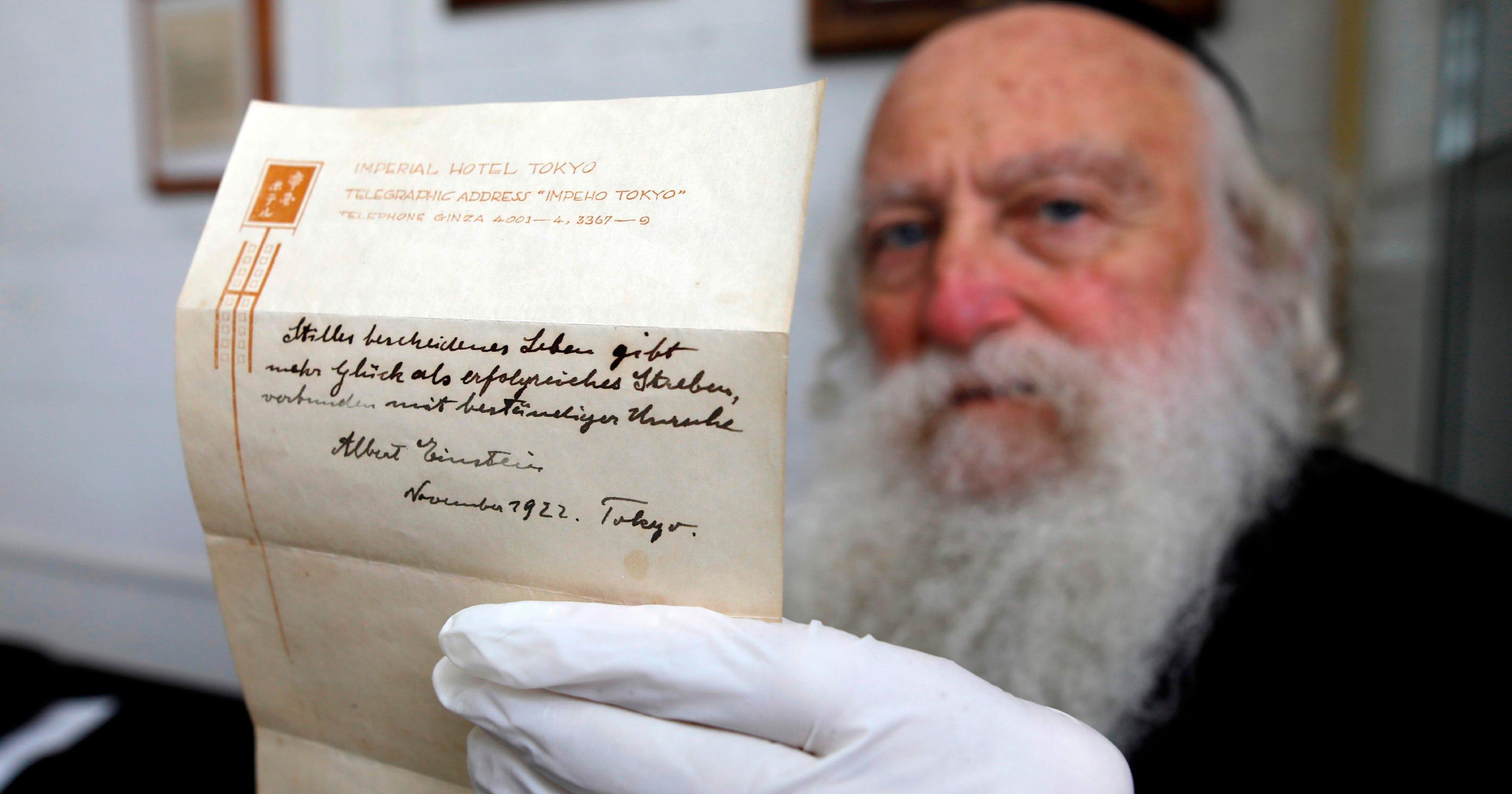 Albert Einsteins Handwritten Theory About Happiness Sold For 156m