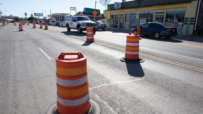 Construction cones along 1600 block of South Staples Street on Monday, Nov. 27, 2017.