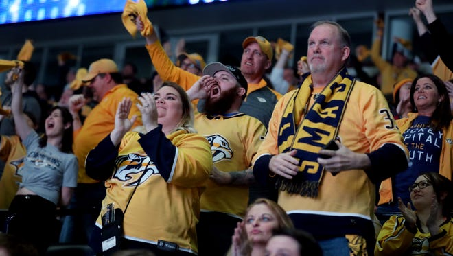 Fans react to a Predators goal during the Predators vs. Avalanche game 6 watching party at Bridgestone Arena Sunday April 22, 2018.