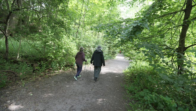 Good hiking trails, like this one at Corbett's Glen Nature Park, abound in New York state.