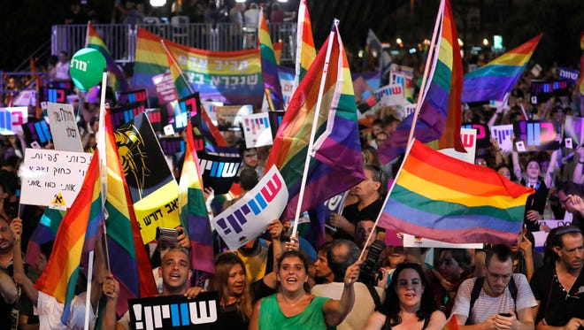 Thousands of people rally for gay rights in front of Rabin square in Tel Aviv, Israel, on July 22, 2018.