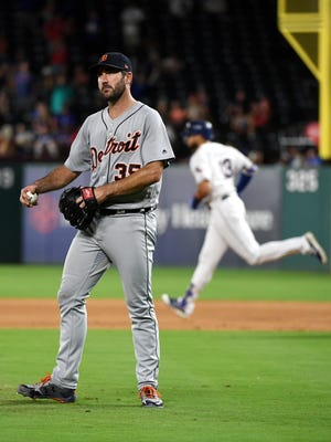 Tigers pitcher Justin Verlander (35) reacts after giving up a two-run home run to Rangers leftfielder Joey Gallo in the fourth inning on Tuesday, Aug. 15, 2017, in Arlington, Texas.