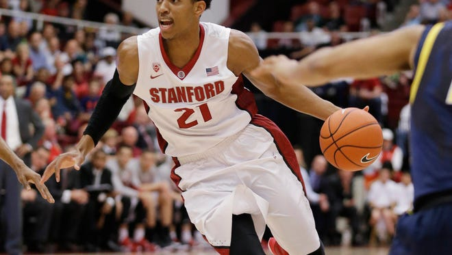 Stanford guard Anthony Brown goes to the basket against California on Feb. 21, 2015.