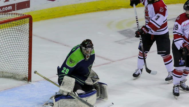 Ice Flyers goaltender John McLean, shown in recent game against Fayetteville, recorded his first pro shutout Sunday in the team's 3-0 win at Columbus