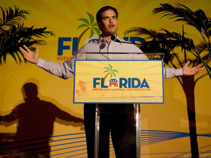 Marco Rubio, then the Florida House speaker, addresses