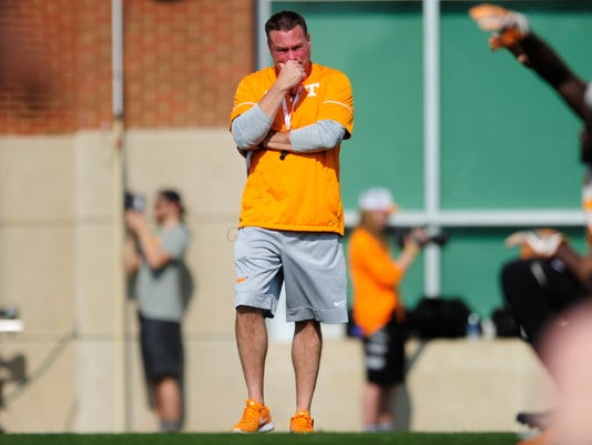 Head coach Butch Jones watches during a college football spring training at Anderson Training Facility in Knoxville, Tenn., Tuesday, March 21, 2017. (Calvin Mattheis/Knoxville News Sentinel via AP)