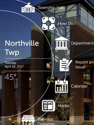 A screen shot of options presented on a smart phone once a user opens the new Northville Township app, which was announced April 19.