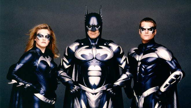 Alicia Silverstone, George Clooney and Chris O'Donnell on the set of 'Batman & Robin,' directed by Joel Schumacher.