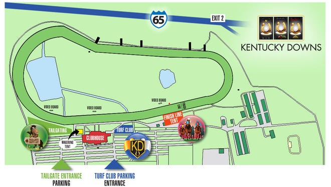 A map of Kentucky Downs' new premium seating.