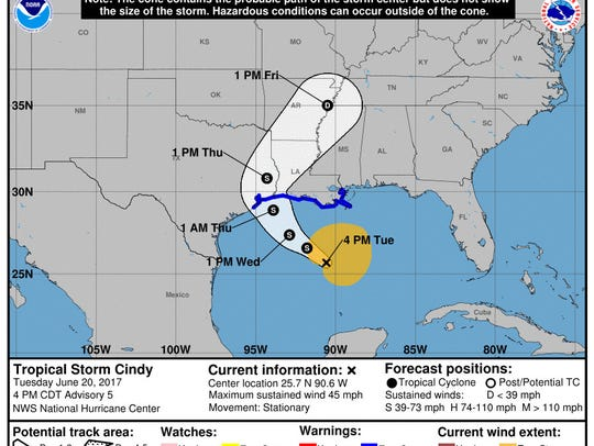 The National Hurricane Center has moved the projected