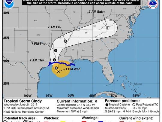 Tropical Storm Cindy, 1 p.m. June 21.