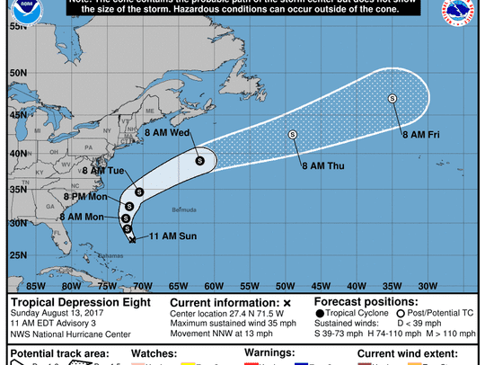 Tropical Depression Eight east of Florida