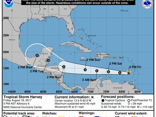 Projected path of Tropical Storm Harvey as of 5 p.m.