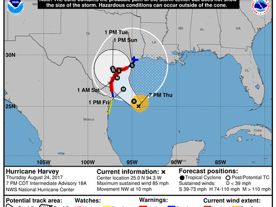 Projected path of Hurricane Harvey as of 8 p.m. Thursday, Aug. 24, 2017.