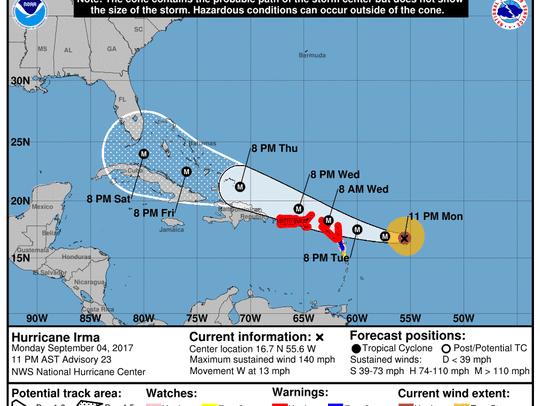 Hurricane Irma at 11 p.m. Monday, Sept. 4, 2017.