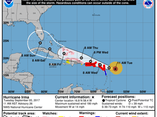 Hurricane Irma 11 a.m. Sept. 5, 2017