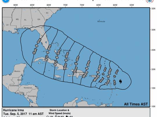 Hurricane Irma 2 p.m. Sept. 5, 2017