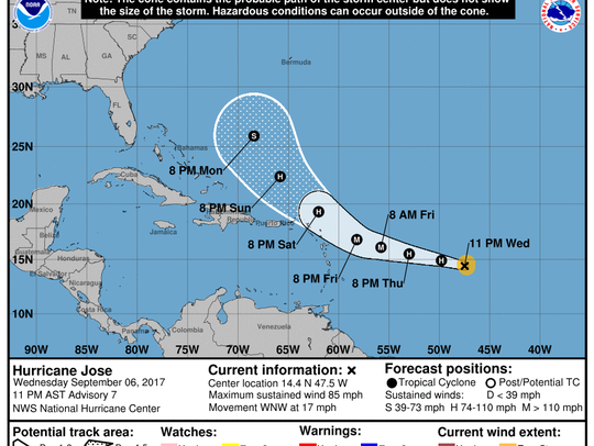 Hurricane Jose projected path as of 11 p.m. Sept. 6,