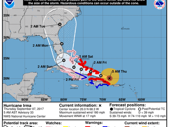 The forecast cone of Hurricane Irma for 5 a.m. Thursday,