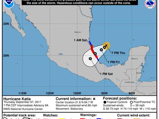 Hurricane Katia's path as of 8 p.m. Sept. 7, 2017.