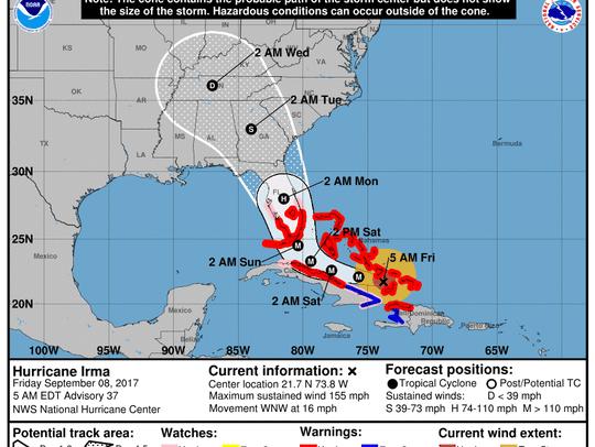 Hurricane Irma path update, Friday morning