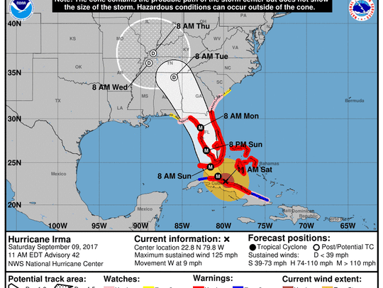 The 11 a.m. track for Hurricane Irma again nudges it