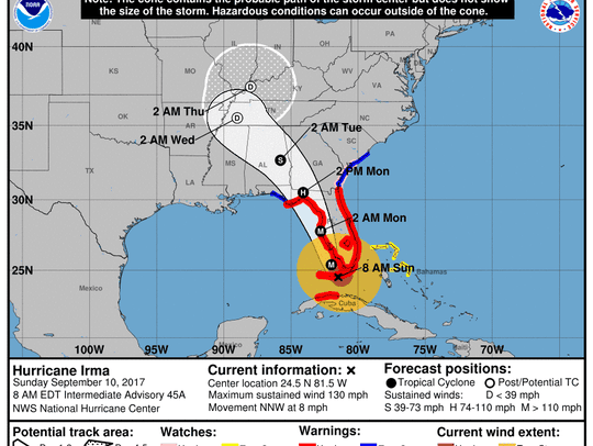 The latest forecast from the National Hurricane Center.